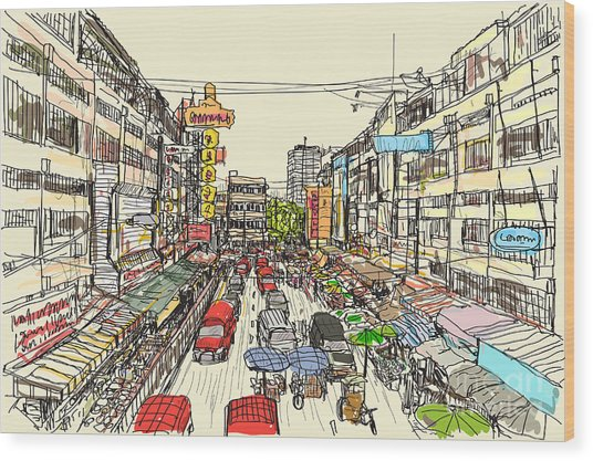 Sketch Thai Local Market Place In Wood Print