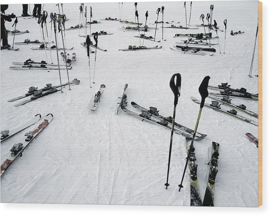 Ski Equipment On The Slopes At A Ski Wood Print