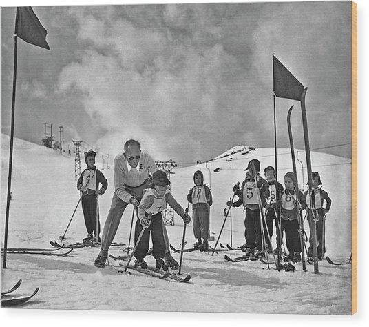 Ski Lesson Wood Print