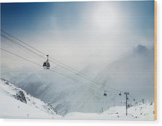 Ski Resort In The Winter Mountains Wood Print by Olga Gavrilova