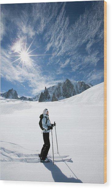 Skier Going Downhill Chamonix France Wood Print