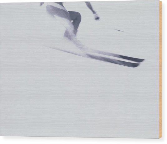 Skier In Flight Wood Print