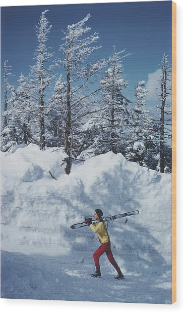 Skier In Vermont Wood Print