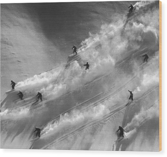 Skiers To The Rescue Wood Print