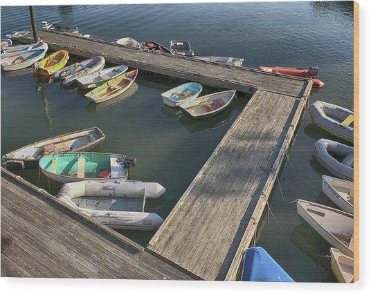 Skiffs In Rockland Harbor Wood Print