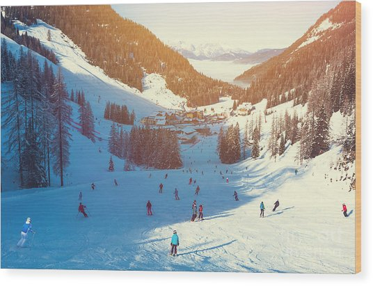 Skiing Area In West Alps In The Morning Wood Print