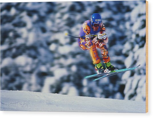 Skiing, Downhill Event, Competitor Wood Print