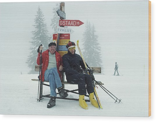 Skiing Holiday Wood Print