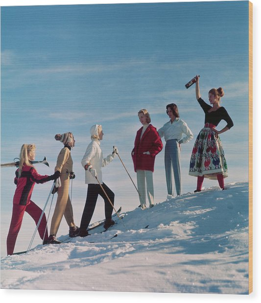 Skiing Party Wood Print by Chaloner Woods