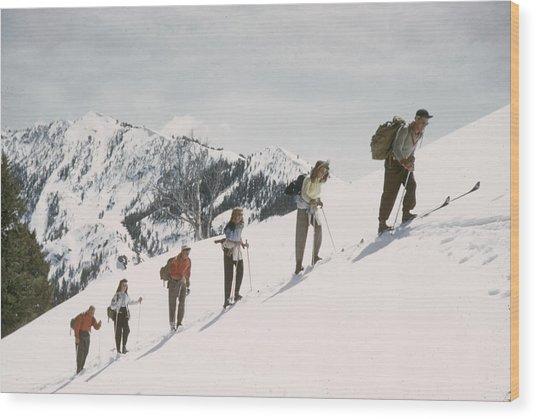 Skiing Uphill Wood Print