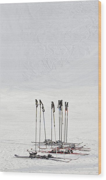 Skis And Ski Poles In Soelden, Tyrol Wood Print