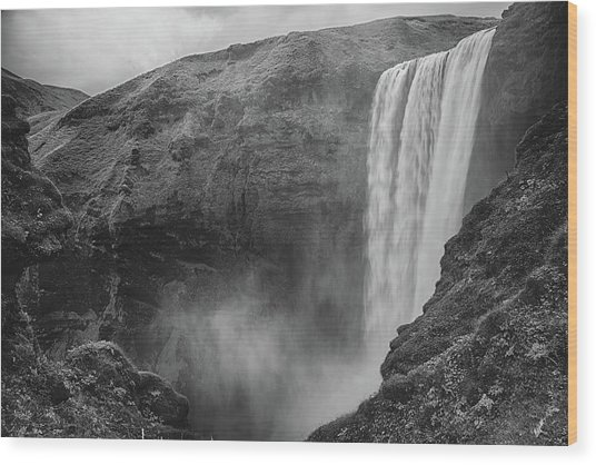 Skogafoss Iceland Black And White Wood Print