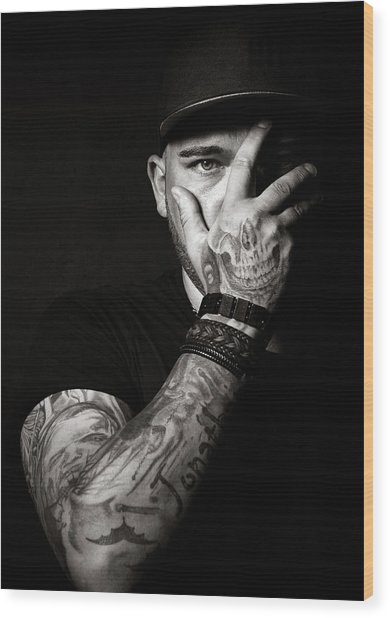 Skull Tattoo On Hand Covering Face Wood Print