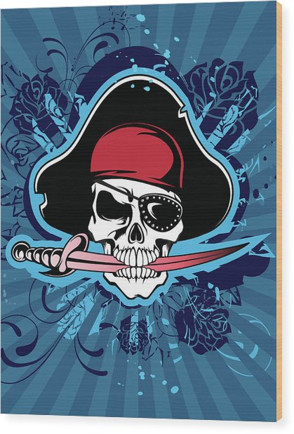 Skull With Pirates Hat, Eyepatch And Wood Print by New Vision Technologies Inc