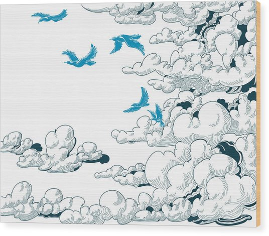 Sky Background, Clouds And Blue Birds Wood Print