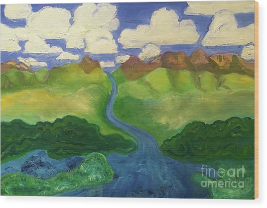Sky River To Sea Wood Print