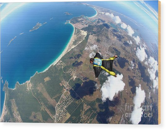 Skydive Wing Suit Over Brazilian Beach Wood Print by Rick Neves