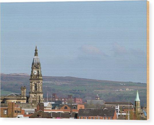 Skyline Of Bolton, Lancashire Wood Print by Joeclemson