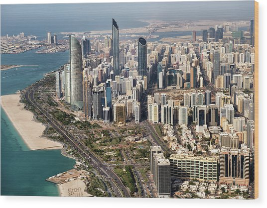 Skyscrapers And Coastline In Abu Dhabi Wood Print by Extreme-photographer