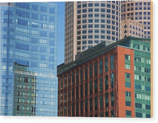Skyscrapers, Fort Point Channel Wood Print by Design Pics / Richard Cummins
