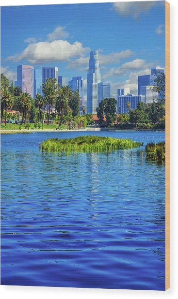 Skyscrapers Of Los Angeles Wood Print by Ron thomas