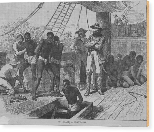 Slaves In Transit Wood Print by Rischgitz