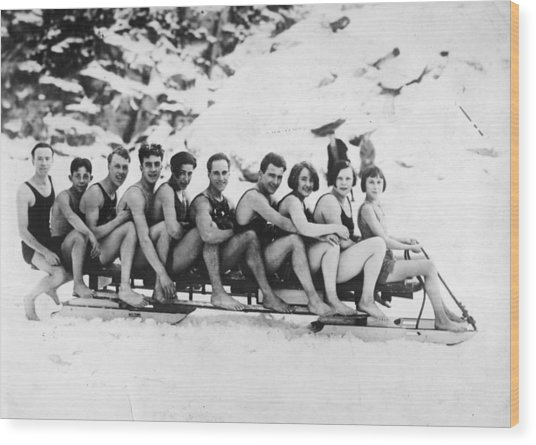 Sledging Wood Print by General Photographic Agency