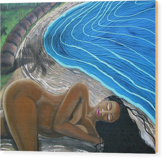 Sleeping Nude Wood Print