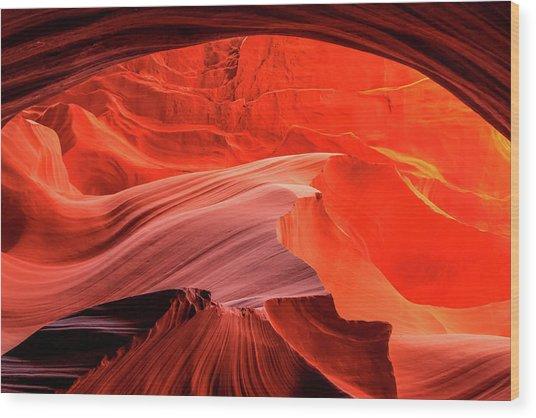 Slot Canyon Waves 1 Wood Print