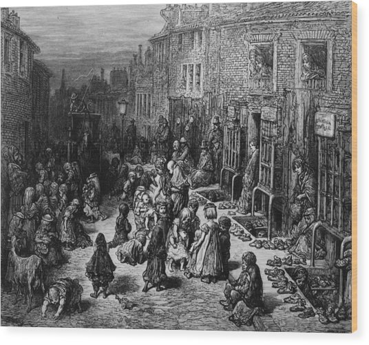 Slum Children Wood Print by Rischgitz
