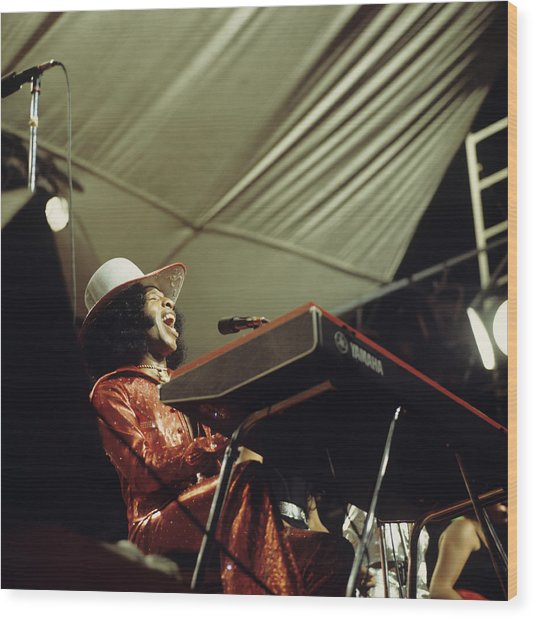 Sly Stone Performs On Stage Wood Print