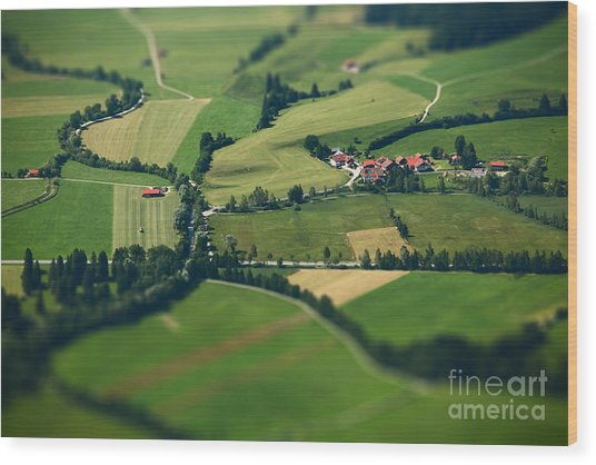 Small Bavarian Village In A Fields Wood Print
