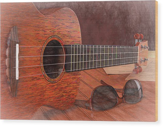 Small Guitar And Shades Wood Print