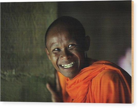 Smiling Buddhist Monk At Angkor Wat Wood Print by Timothy Allen