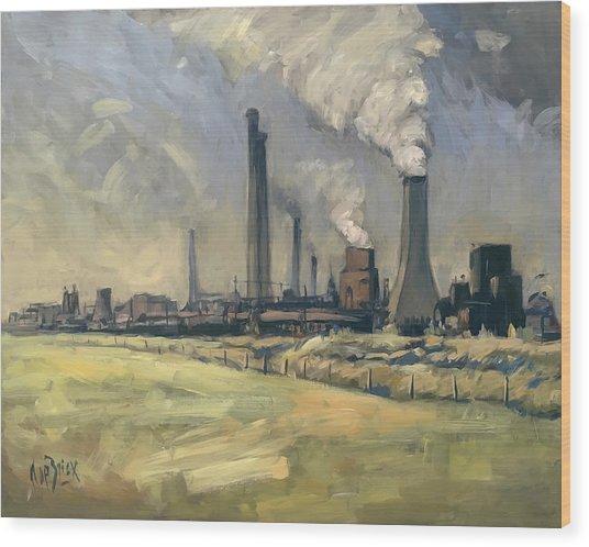 Smoke Stacks Prins Maurits Mine Wood Print