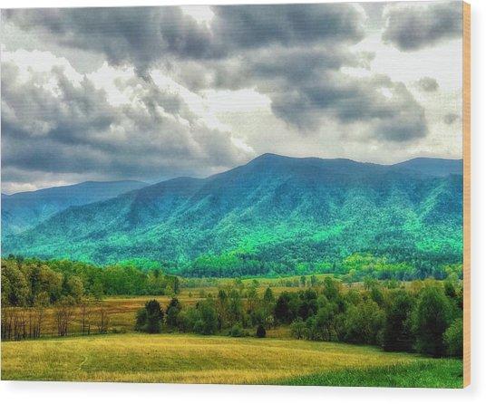 Smoky Mountain Farm Land Wood Print
