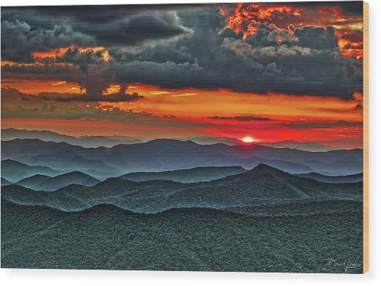 Wood Print featuring the photograph Smoky Mountain Sunset And Storm by David A Lane