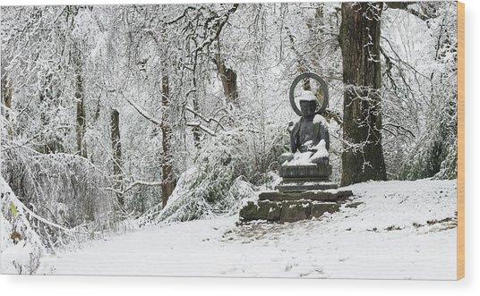 Snow Buddha Batsford Arboretum Wood Print by Tim Gainey