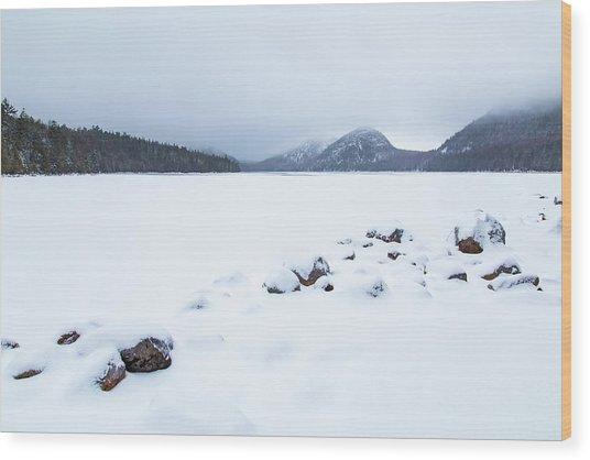 Snow Cover Jordan Pond Wood Print