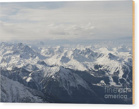 Snow Covered Alps Mountains Aerial View Wood Print