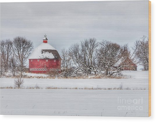 Snow Covered Round Barn Wood Print