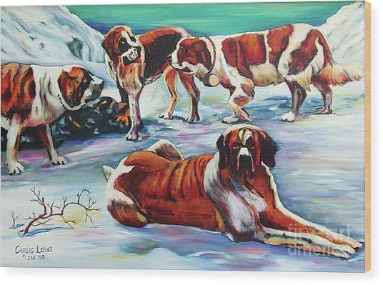 Snow Dogs Wood Print