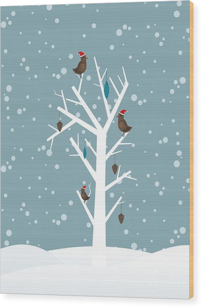 Snow Fall Background With Birds Sitting Wood Print