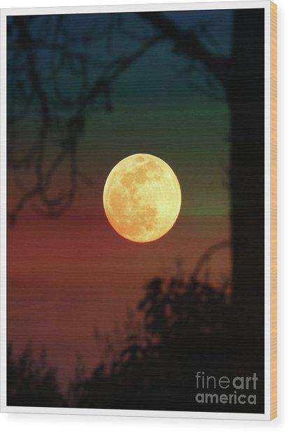 Snow Moon Wood Print