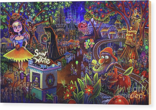 Snow White Amusement Park Wood Print