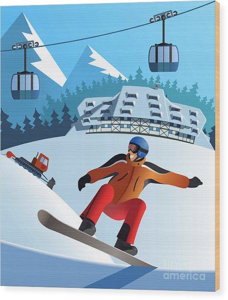 Snowboard Winter Resort Wood Print