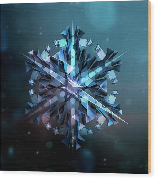 Snowflake 01 Wood Print by Mina De La O