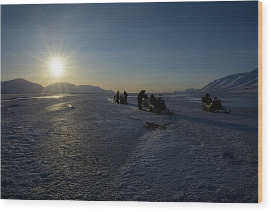 Snowmobile Expeditions Wood Print