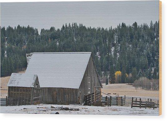Snowy Barn Yellow Tree Wood Print