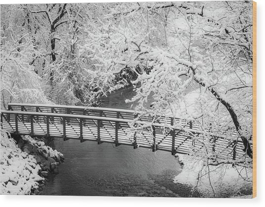 Snowy Bridge On Mill Creek Wood Print